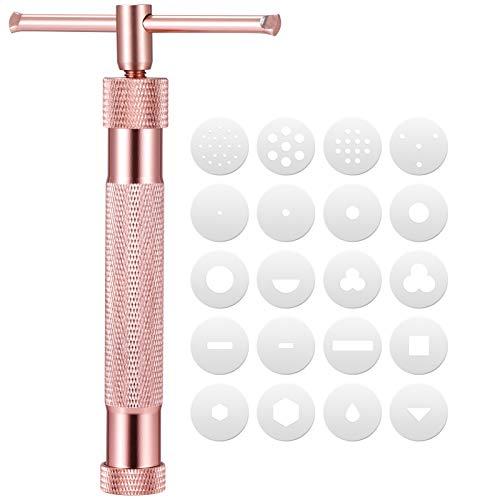 YARNOW Squeeze Juego de Herramientas de Molde Rotatorio de Aleación de Arcilla Polimérica Juguete Educativo de Fideos de Geometría DIY para Niños (Oro Rosa)