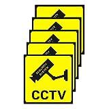 10 Piezas de Pegatina de Videovigilancia Adorno de Señal de 2 Tamaños Cartel Alarma para Pegatina de Sistema de Alarma de Cámara,11 x 11 cm y 10 x 15 cm Señales Adhesivos de 24 Hours Security Warning