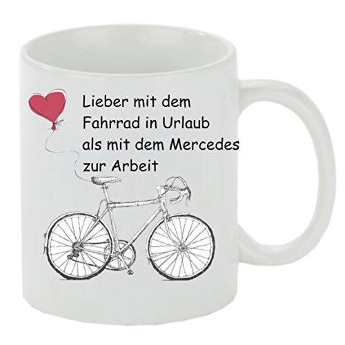 Creativ Deluxe Kaffeebecher Lieber mit dem Fahrrad in Urlaub als. Kaffeetasse, Kaffeetasse mit Motiv, Bedruckte Tasse mit Sprüchen oder Bildern - auch individuell, Teetasse, Bürotasse