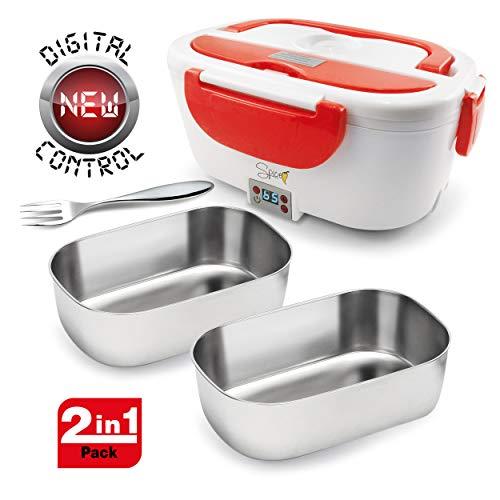 SPICE Amarillo Inox Digital Scaldavivande Portatile Lunch Box Giallo 40 W 1,5 Litri + Set 2 Vaschette Acciaio Inox Estraibili