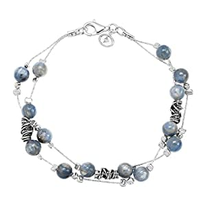Sea Breeze' Blue Kyanite Beaded Double-Strand Bracelet in Sterling Silver