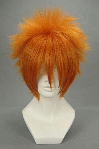 JapanAttitude Perruque Courte Orange chatain 30cm, Cosplay Kosuke Ueki