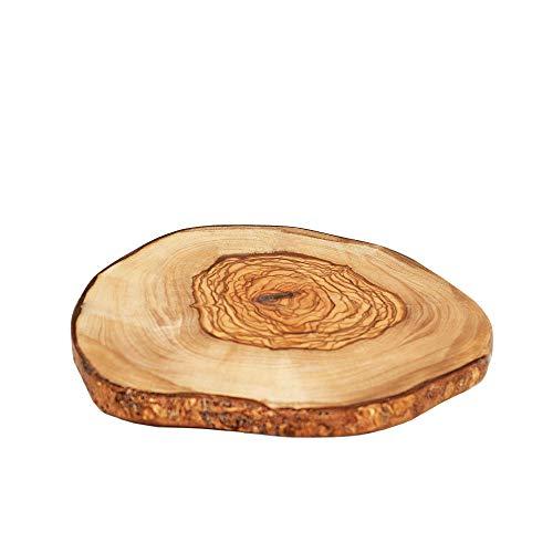 NATUREHOME Olivenholz Scheibe rustikales Rindenbrett - Ø 12-17cm runde dekorative Scheibe als Holz Küchenbrett Dekoration Untersetzer