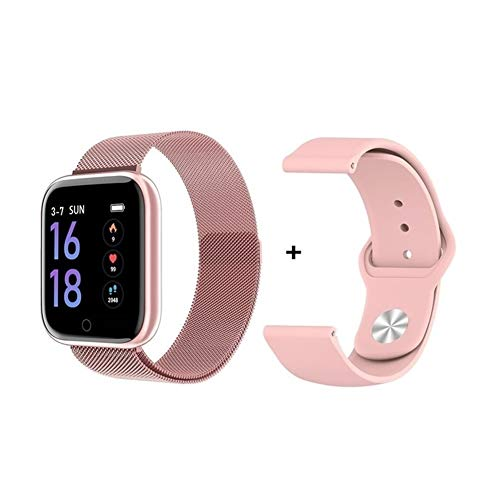 Fitnessarmband, touchscreen-polshorloge, dames, waterdicht, intelligent horloge, bluetooth, smartwatch voor Apple iPhone Xiaomi hartslagmeter, fitnesstracker, bluetooth, smartwatch, slaapmonitor, schrift, Add Silica GelPink