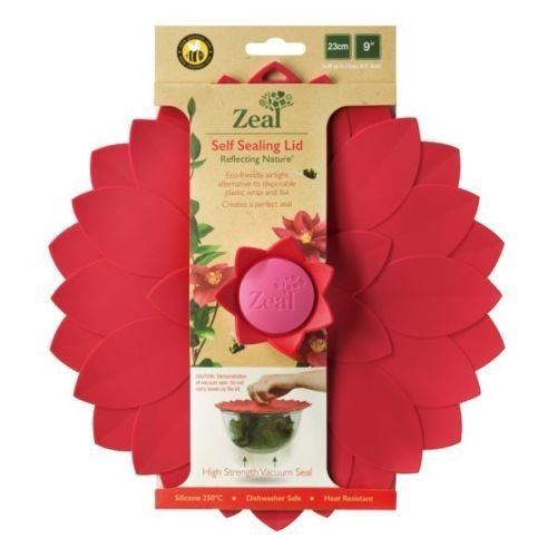 "Zeal Reflecting Nature 9"" Flower Push to Seal Silicone Storage Lid (Red)"