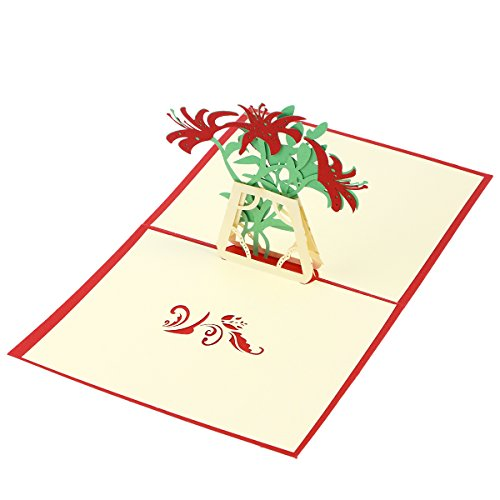VALICLUD Chic 3D Up Grußkarten Lily Handmade Wish Card Kirigami Papier Handwerk für Muttertag