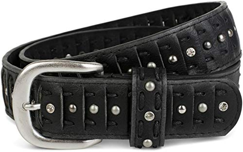 styleBREAKER cinturón de remaches en estilo cortado con remaches, piedras de estrás y nudo, cinturón «vintage», acortable, señora 03010079, tamaño:105cm, color:Negro