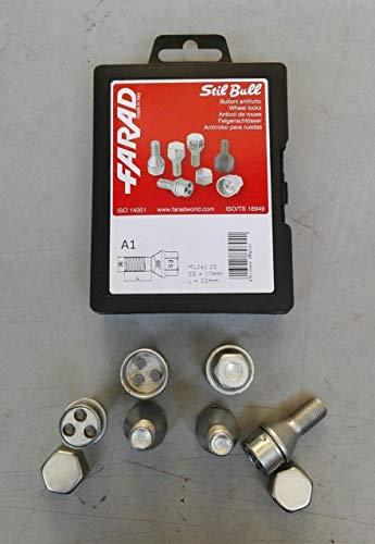 Farad, Felgenschloss-Schrauben fürs Auto, für Audi A1/A2/A3/A4/A5/A6/A7/A8, Original (Stil Bull)