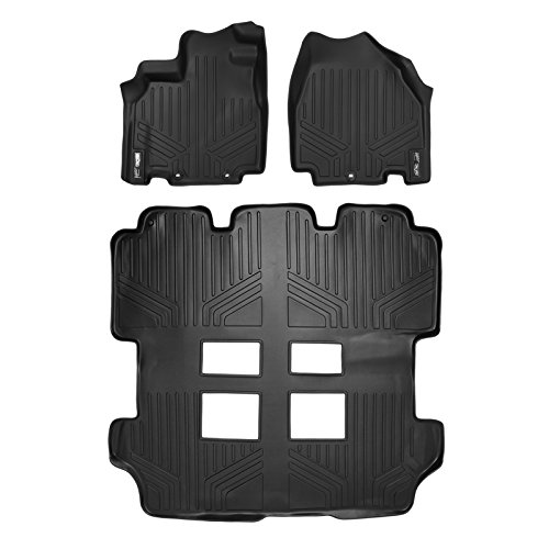 MAXLINER Custom Fit Floor Mats 3 Row Liner Set Black for 2011-2017 Honda Odyssey - All Models