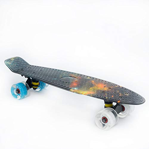 Complete 22inches Cruiser Skateboard for Beginners - Kids Girls Boys Skateboard Plastic Banana Board with Colorful LED Wheels for School and Travel,Black Sky