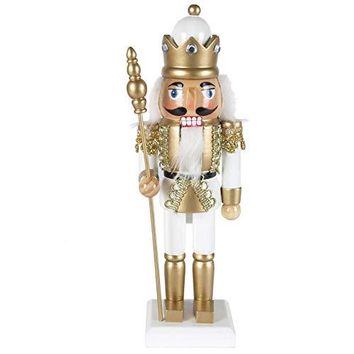 OBC-Kunsthandwerk Nussknacker König mit Zepter Gold-weiß / 25 cm/Deko-Nussknacker/handbemalt im Erzgebirge Stil/weihnachtlich dekorieren