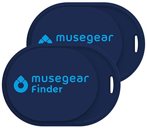 musegear Keyfinder Mini con Bluetooth App I Keyfinder ad Alta Voce per Cellulare in Blu Scuro 2-Pack I GPS Tracking/Pairing I Trovare Le Chiavi