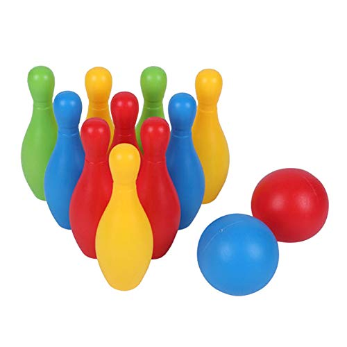 LKW Riesiges Aufblasbares Bowling-Set Für Kinder & Erwachsene, Spiel-Sets Indoor Outdoor Sportspiele Spielzeug Für Kinder (10Pcs Bowling Pins + 2Pcs Ball Zufällige Farbe),11cm