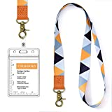 Lanyard with id Holder Cute lanyards for Women Lanyard for Keys id Badge Holder (Orange Triangle)