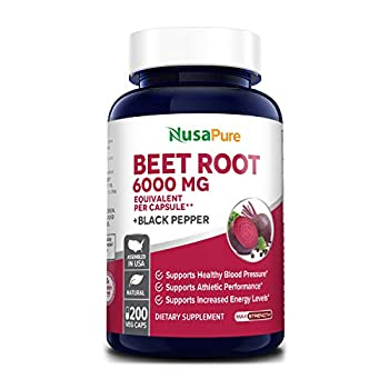 Beet Root 6000 mg 200 Veggie caps  Vegan Non-GMO Extract 20 1 & Gluten-Free  with Black Pepper - Supports Healthy Blood Pressure Supports Performance and Energy Levels* *