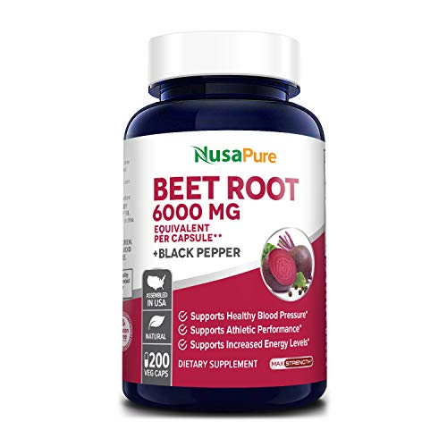 Beet Root 6000 mg 200 Veggie caps (Vegan, Non-GMO, Extract 20:1 & Gluten-Free) with Black Pepper - Supports Healthy Blood Pressure, Supports Performance and Energy Levels* *
