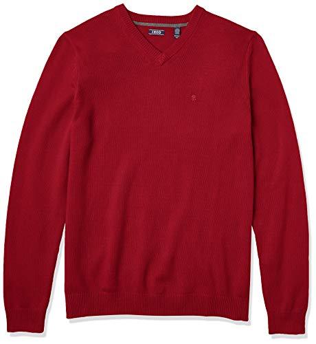 Izod Men's Big & Tall Tall Premium Essentials Solid V-Neck 7 Gauge Sweater, Biking Red, 4X-Large Big