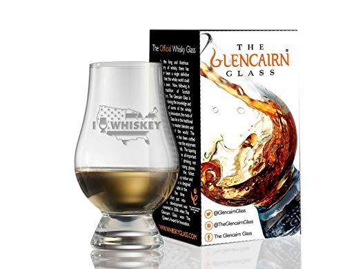 Glencairn Deko-Kristall-Whiskey-Verkostungsglas – I Love Whiskey über US-Karte und Flagge