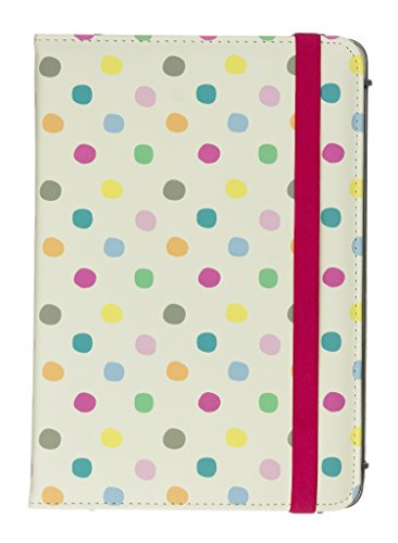 Trendz Patterned Protective Universal Folio Case Cover with Built-In Stand and Closing Strap for 7 Inch Tablets such as iPad Mini, Google Nexus 7, Samsung Galaxy Tab 3 7.0, Kindle Fire HD 7 inch, LG G Pad, Linx, Acer Iconia, and Tesco Hudl  - Vintage Polka Dot,TZU7VPN