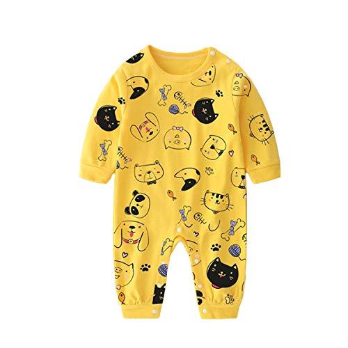 Baby Bodys Langarm Strampler Jumpsuit Baumwolle Schlafanzug Onesies Overall Neugeborene Onesies Babykleidung Geschenk Jungen Mädchen 18-24 Monate,Gelbe Tiere