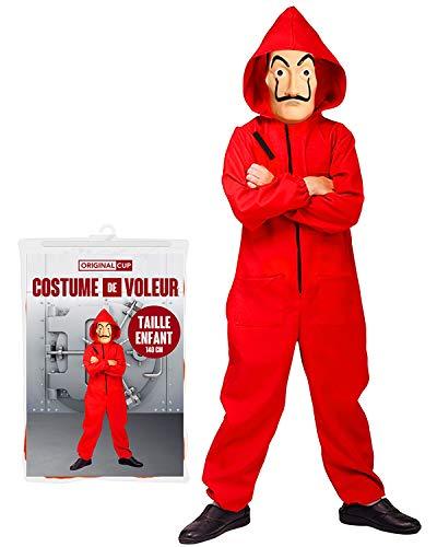 Gesamtes Kostüm Haus des Geldes | Komplettset Serie Haus des Geldes | Rote Kombi mit Kapuze Kinder (6-10 Jahre/140 cm) + Originale Dali Maske | Einbrecher | OriginalCup®