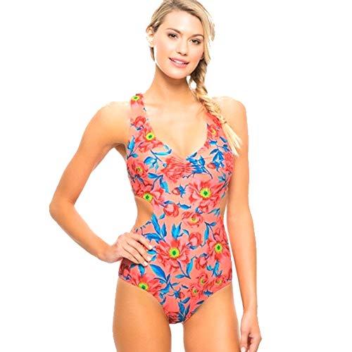 Tori Praver Women's Racerback One Piece Swimsuit (X-Small, Bright Mango Floral)