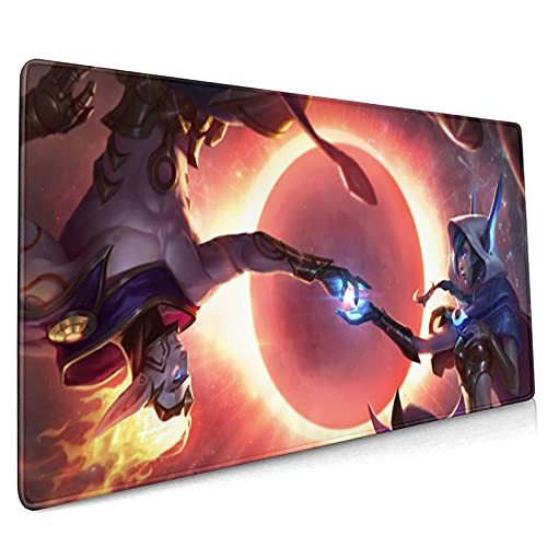 Rakan LOL League Legends Gaming Mouse Pad, Large Mouse Pad Keyboard Pad Mouse Mat Desk Pad with Non-Slip Base and Stitched Edge for Pc Notebook Home Office Work