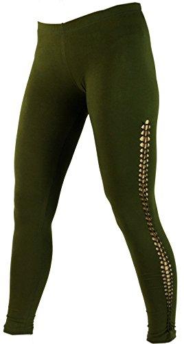 Guru-Shop Psytrance Damen Leggings, Stretch Hose für Frauen, Yogahose, Olive, Baumwolle, Size:38, Shorts, 3/4 Hosen, Leggings Alternative...