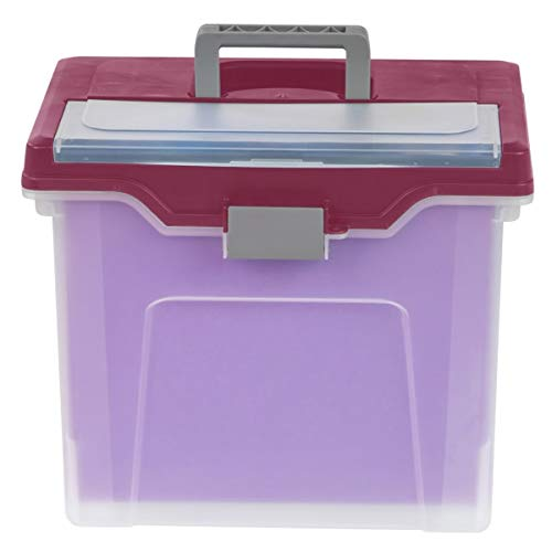 Office Depot Large Mobile File Box, Letter Size, 11 5/8in.H x 13 3/6in.W x 10in.D, Clear/Burgundy, 110986 Photo #3