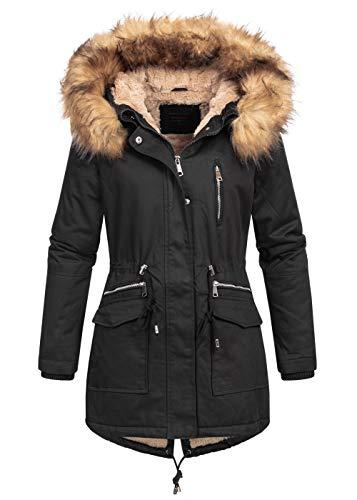 Megusto Damen Winterparka Winterjacke Mantel 100% Baumwolle Kapuze Webpelz abnembar Teddyfutter schwarz, Gr:S