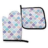 Kotdeqay Gants de cuisine isolés avec coussinet carré résistant à la chaleur, queue de sirène avec paillettes argentées, gants de cuisine pour protéger les mains et les surfaces avec grip antidérapant