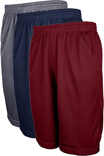 TOP LEGGING Mens Athletic Basketball Shorts with Pockets, Active Workout Big and Tall Shorts 3PK CHA_NAV_BUR-4XL