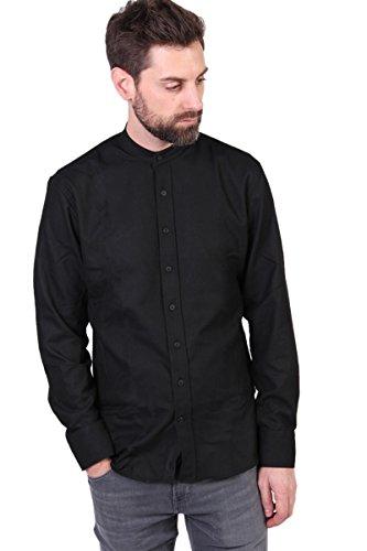 Kronstadt Hemd Dean Flannel Mandarin schwarz Gr. S, Schwarz