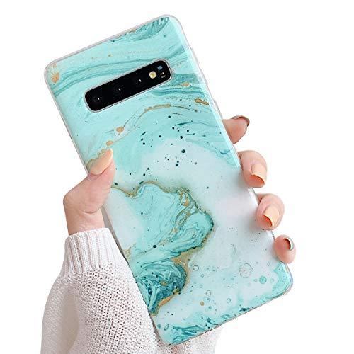 Suhctup Compatible pour Samsung Galaxy S10 Plus Marbre Coque de Protection Silicone [avec Fleurs Floral Glitter Bling Rose Gold Design Motif] Anti-Rayures Anti Choc Housse Étui(Vert)