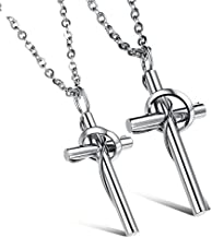Fashion His & Hers Matching Set Titanium Stainless Steel Couple Pendant Women's & Men's Necklace Lingering Love Cross (1 Pair Silver)