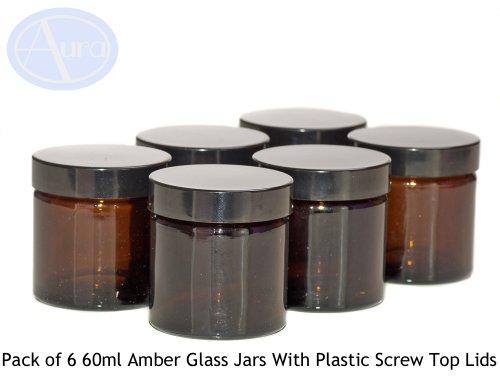 6er-PACKUNG - 60ml BRAUNGLAS-Behälter mit SCHWARZER Verschlusskappe für Aromatherapie-Mischungen / Cremes