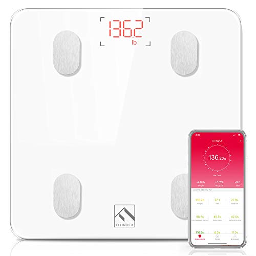 FITINDEX Bluetooth Body Fat Scale, Smart Wireless BMI Bathroom Weight Scale Body Composition Monitor...