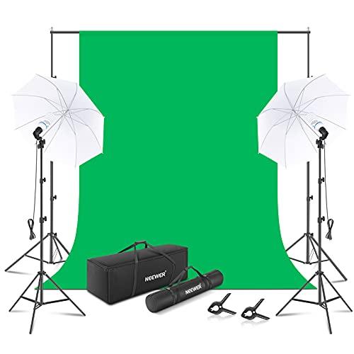 NEEWER Equipo de Iluminación Kit: Fondo Fotográfico de 6x9 Pies Muslin Chromakey Verde con 2.6x3 Metros/8.5x10 Pies Soporte de Fondo...
