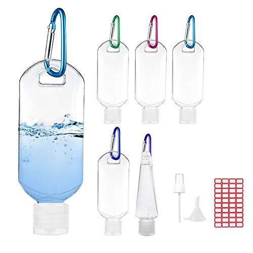 Androxeda 6Pcs 50ml Botellas Recargables Contenedores de Viaje Botellas de plástico vacías con Clip de cinturón de mosquetón de Gancho, Cabezal de pulverización, embudos y Etiquetas gratuitas.