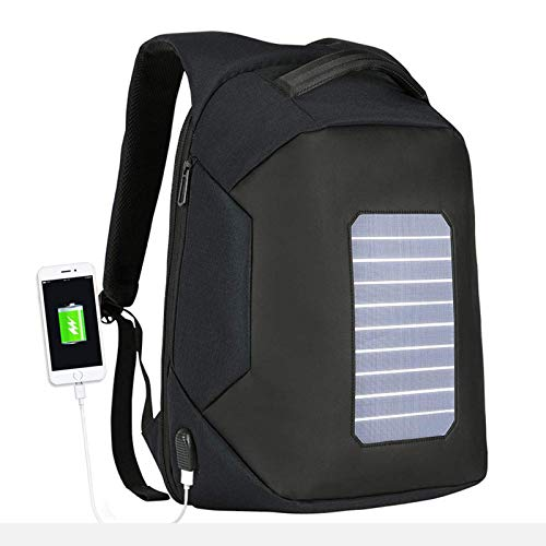 ZJM Solar Powered Backpack, Waterproof Oxford Fabric Travel Daypack with USB Charging Port, Laptop Anti-Theft Rucksack, for Men Women,Black