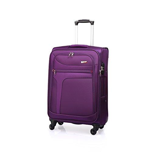 Verage Rock Stoff Trolley mit Erweiterungsfunktion Lila L-(28') 78x48x31cm-39cm Suitcase Handgepäckkoffer Reisekoffer Marken-Qualitätsware Spitzenverarbeitung,wasserdicht,TSA Schloss,4 Rollen,