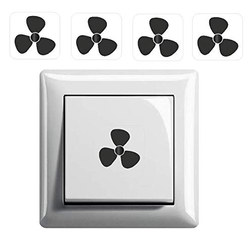 Generisch 4 Stück Ventilator Symbol Aufkleber, Schalteraufkleber (R75/5) T (15 x 15 mm)