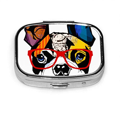 Pastillero Retrato Gafas de sol con Bulldog Francés Gafas de sol Estuche de píldoras Pastilla diaria Portátil para Pocket S