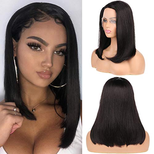 Huarisi 8a Bob Human Hair Straight Wig without Bang 14 Inch Right Side Part Brazilian Machine Made Natural Color Glueless Lace Front Wig l Part Real Hair Wigs for Black Women