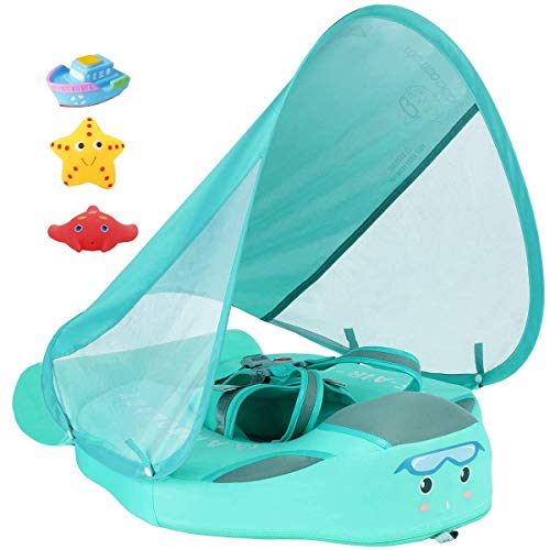 V Convey Size Improved Add Tail Never Flip Over 2020 Newest Mambobaby Non-Inflatable Float Swim Trainer Relaxing Infant Baby Pool Float with Canopy Solid Waist Swimming Ring Sunshade (Green C de)