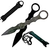 Falcon Tactical Fixed Blade Dagger And Trainer Dagger Set. SOCP Style For Collections, Gifts, Camping and Tactical Training Purposes (Damascus Pattern)