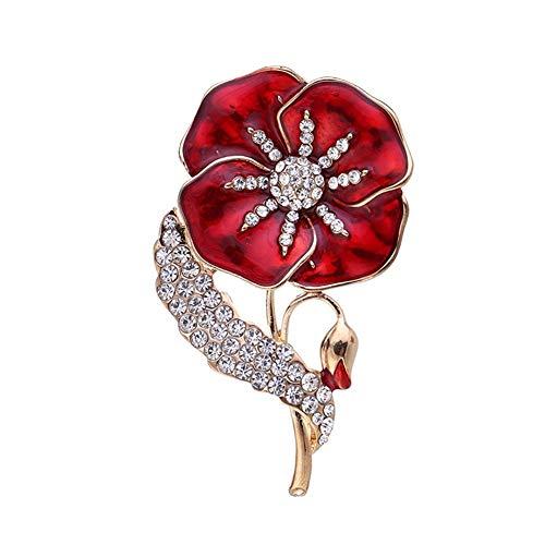 HMOOY Enamel Poppy Flower Brooch Pin Badge Womens Mens Gold Crystal Red Flower Legion Brooch Veterans Memorial Day Festival Unisex (Red)