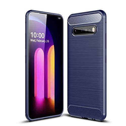 UKDANDANWEI Hülle für LG V60 ThinQ 5G, Kohlefaser Textur Hülle Weiche Leichte TPU Rückseite für LG V60 ThinQ 5G - Blau