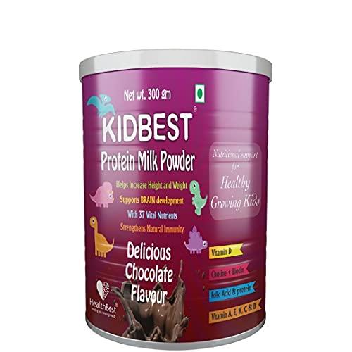 HealthBest Kidbest Protein Milk Powder for Kids   Healthy Growing Kids   Smart & Strong Kids   Increase Energy & Stamina   Chocolate Flavor   300gm