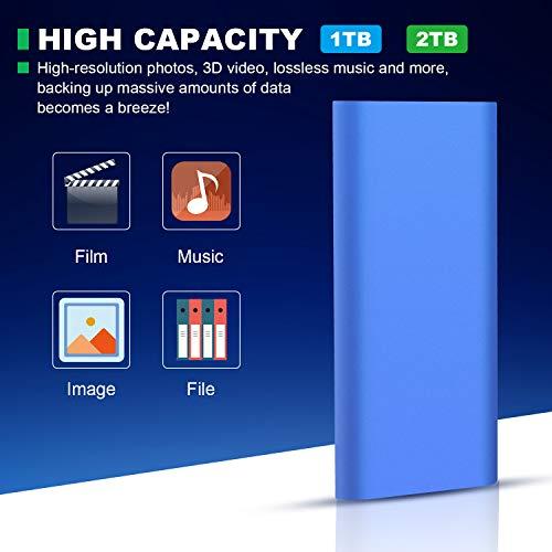 UIUIT Disco Duro Externo Portátil 1TB Type C USB3.1 Disco Duro para PC, Mac, Xbox One, Xbox 360 (1 TB, Rojo) miniatura